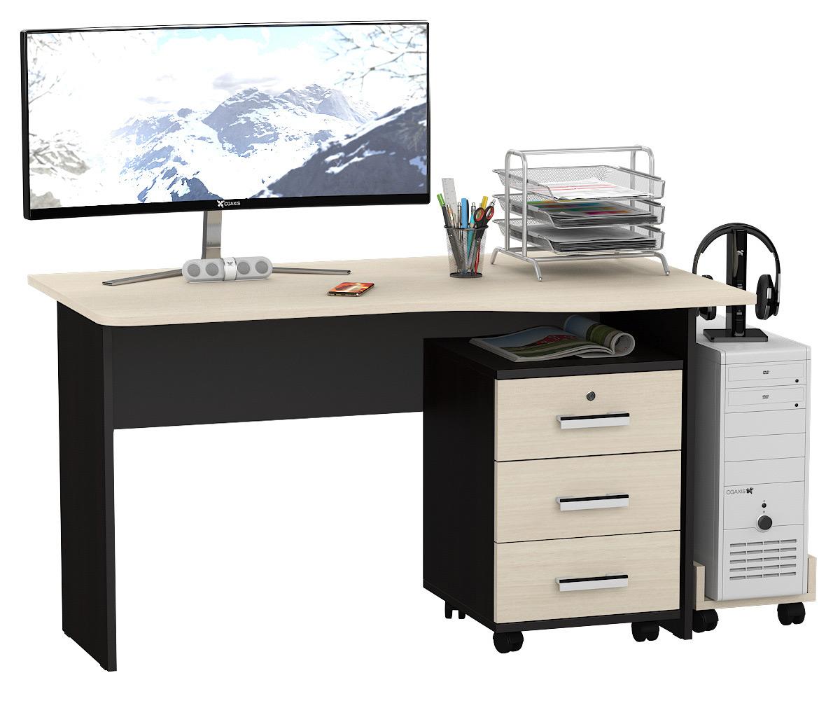 Письменный стол Мебельный Двор МД 1.04ТП с тумбочкой и подставкой венге/дуб 130х75х74 фото