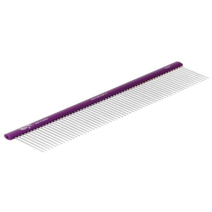 Расческа для животных Hello Pet, алюминиевая с плоской фиолетовой ручкой, 25см, зуб 3,3см