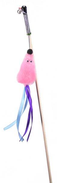 Игрушка для кошек Gosi Мышь с мятой, розовый мех с хвостом из лент