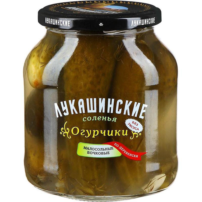 Огурчики Лукашинские соленья малосольные бочковые 670 г