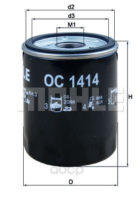 Фильтр масляный двигателя Mahle OC1414