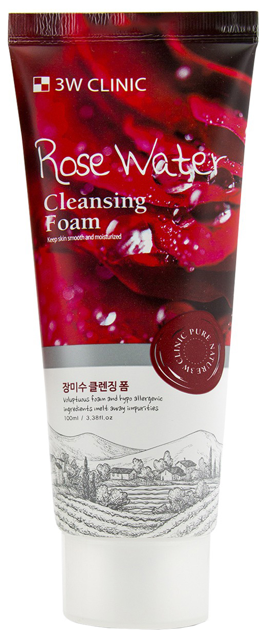 Пенка для умывания 3W Clinic Rose Water Foam Cleansing 100 мл