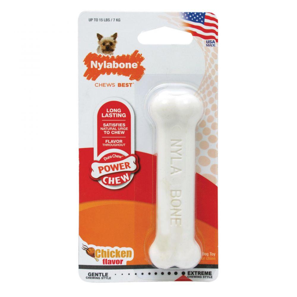 Жевательная игрушка для собак Nylabone Косточка экстра жесткая с ароматом курицы S фото