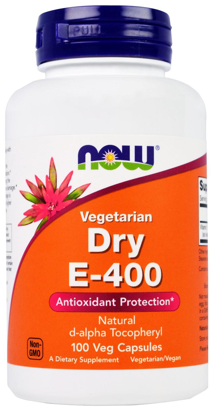 Купить Витамин E NOW Dry Vegetarian E-400 d-alpha Tocopheryl 100 капс.