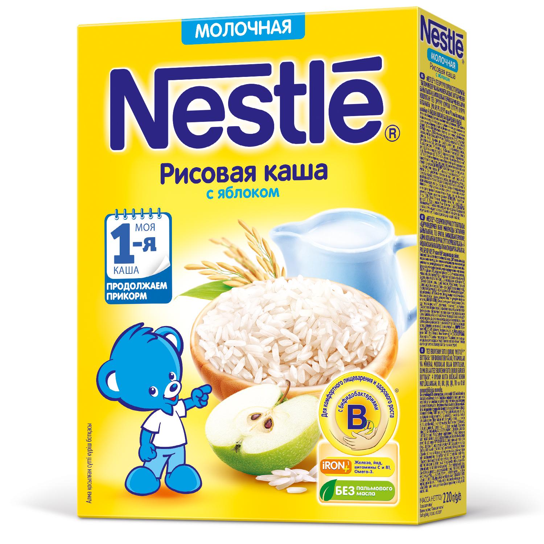 Каша молочная Nestle Рисовая с яблоком с 5 мес. 220 г фото