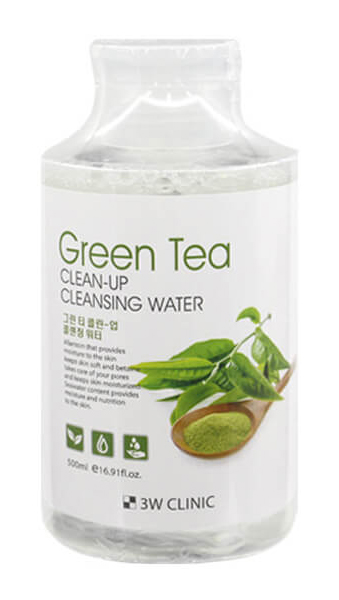 Очищающая вода 3W Clinic Green Tea Clean-Up Cleansing Water 500 мл