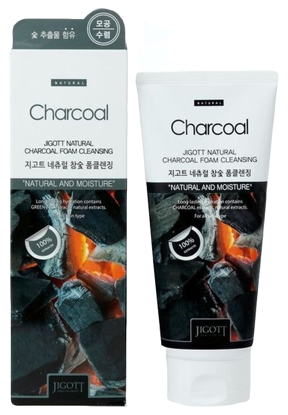 Пенка для умывания Jigott Natural Charcoal Foam Cleansing 180 мл