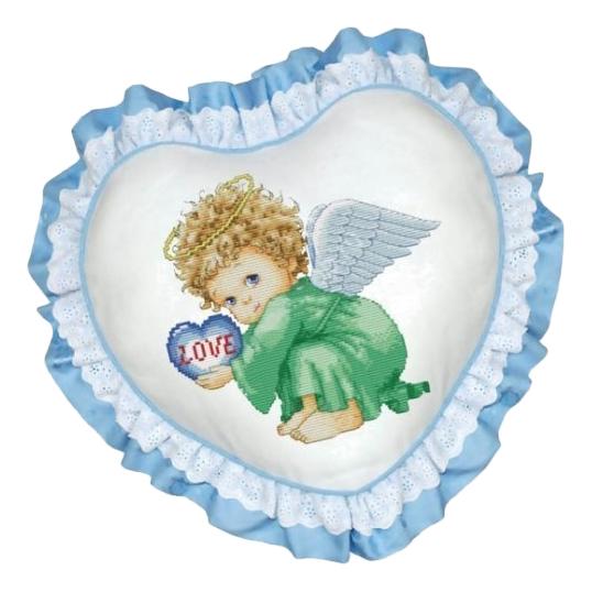 Вышивка для детей Белоснежка Подушка. Милый Ангел (Рюшка голубая)