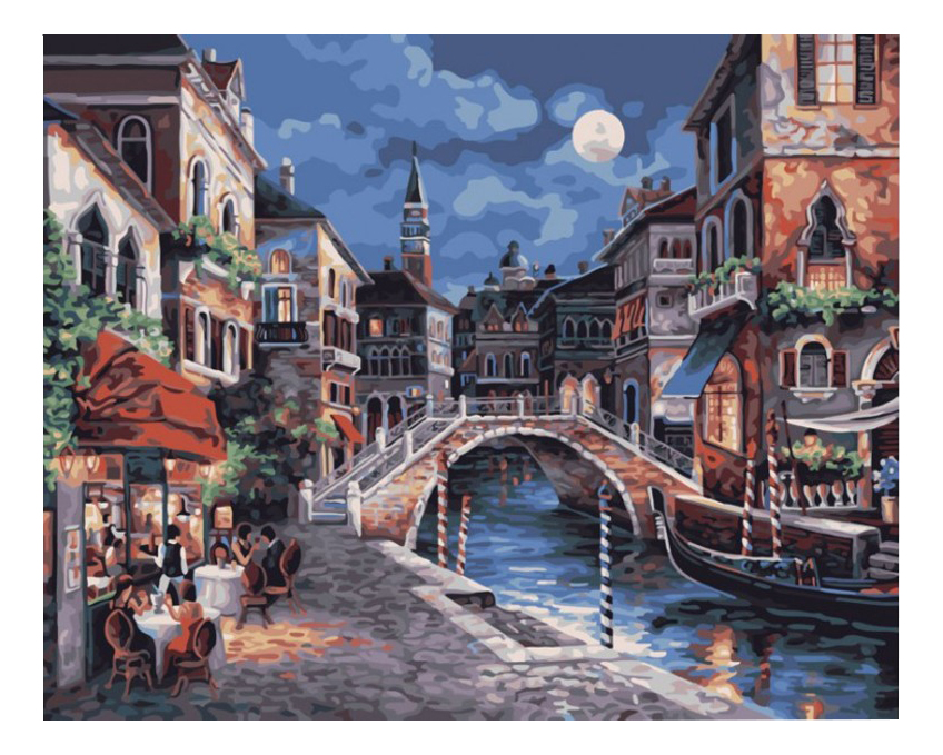 Раскраска по номерам Белоснежка Ночная Венеция