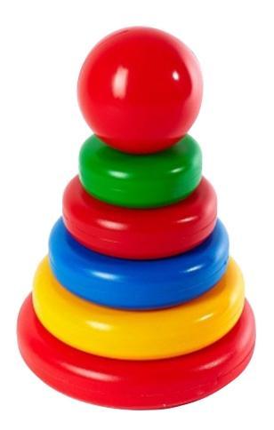 картинка Пирамидка-сортер классическая с большим шаром 5 колец Класата! 1108 от магазина Bebikam.ru