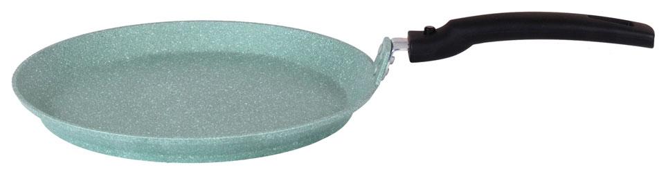 Сковорода литая блинная ТМ KUKMARA съемная ручка фисташковый мрамор 22см СБМФ220А