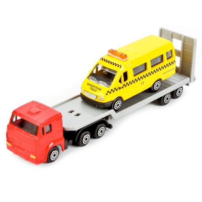Купить Набор Технопарк камаз автотранспортер + Газель желтый sb-17-28wb, Строительная техника