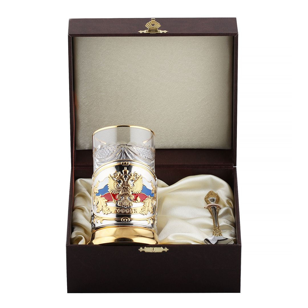 Подстаканник никелированный с позолотой и эмалью Герб Триколор в футляре+Город Подарков