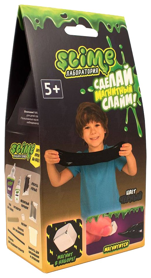Набор для мальчиков малый Slime Лаборатория , черный магнитный, 100 гр., Фабрика игрушек, Наборы для опытов  - купить со скидкой