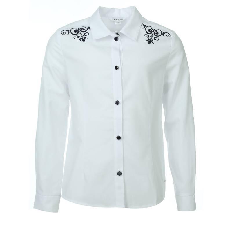Купить 696, Блузка UNONA D'ART, цв. белый, 134 р-р, Детские блузки, рубашки, туники