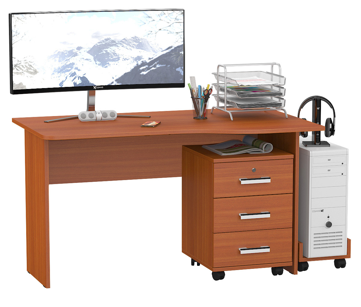 Компьютерный стол Мебельный Двор 1.04ТП вишня