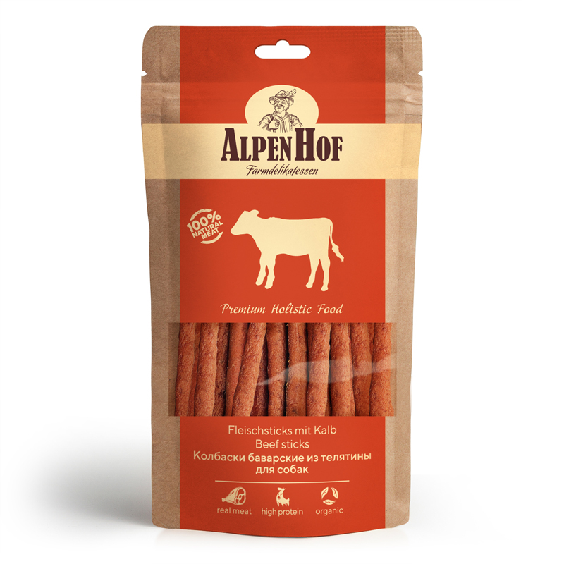 Лакомство для собак AlpenHof Колбаски баварские из телятины, 50г фото