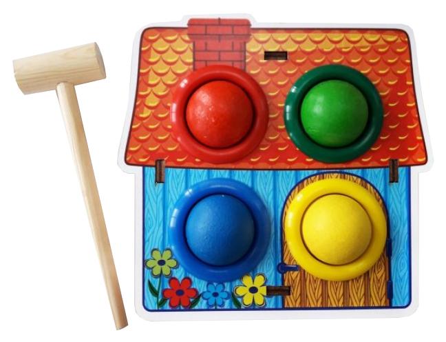 Развивающая игрушка Woodland Стучалка цветная Домик 115308
