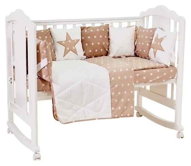 Купить Polini kids Звезды 5 предметов, 120х60, макиато, Комплект детского постельного белья Polini Звезды 0001490-6, Комплекты детского постельного белья