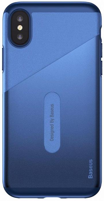 Чехол Baseus Card Pocket Case (WIAPIPHX-KA15) для Apple iPhone X (Dark Blue)