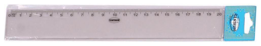 Прозрачная пластиковая линейка, 20 см CENTRUM