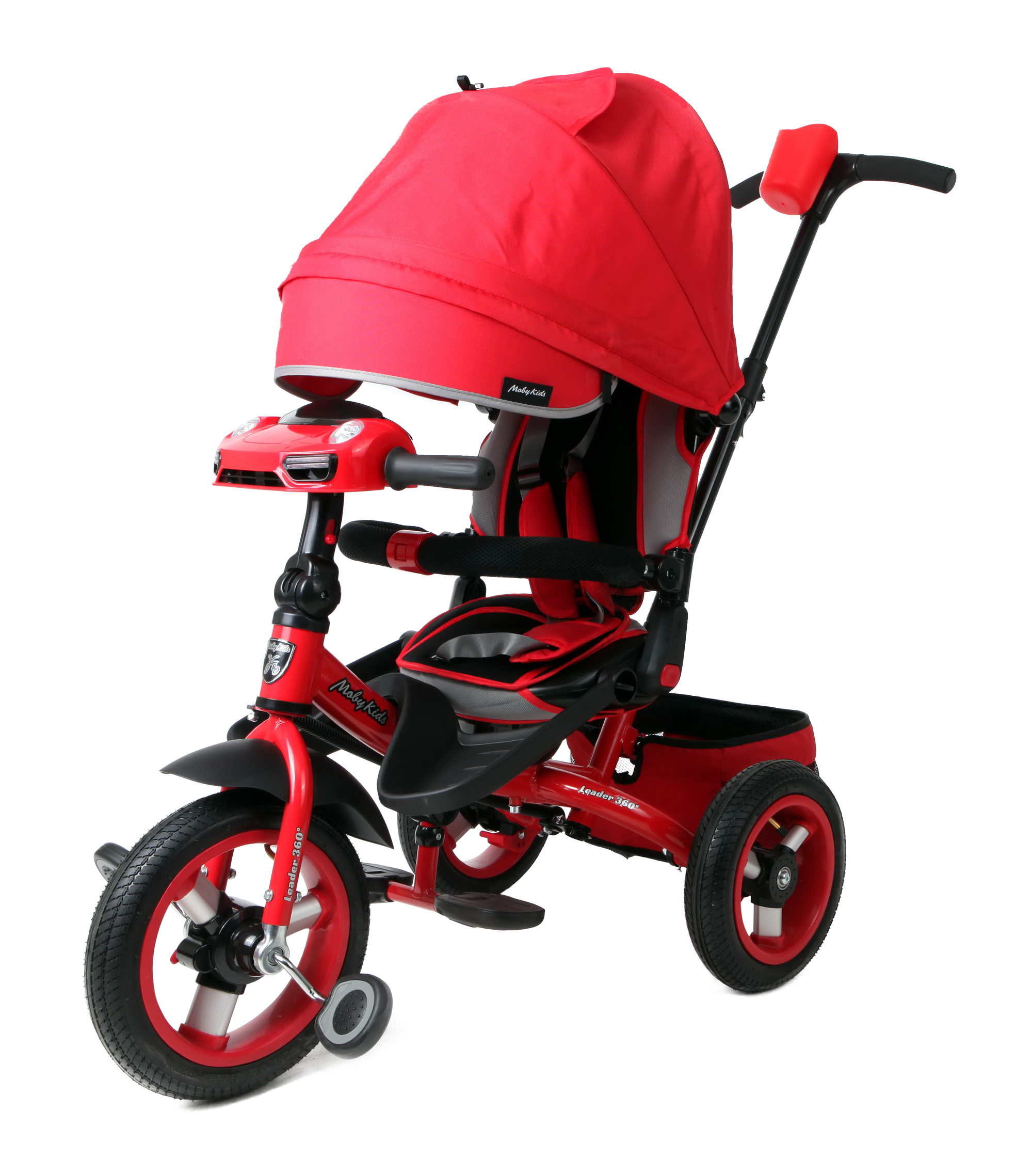Купить Велосипед трехколесный Moby Kids Leader 360° AIR Car с разворотным сиденьем красный 641209, Детские велосипеды-коляски