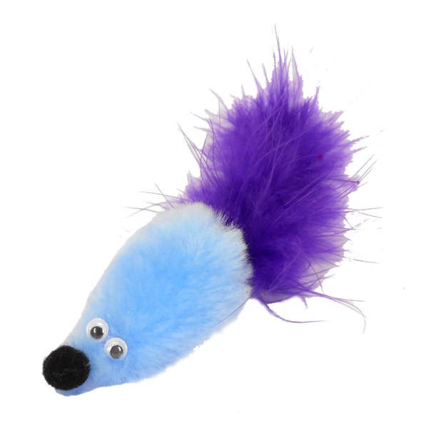 Игрушка для кошек GOSI Дразнилка Мышь с мятой голубой мех с хвостом перо