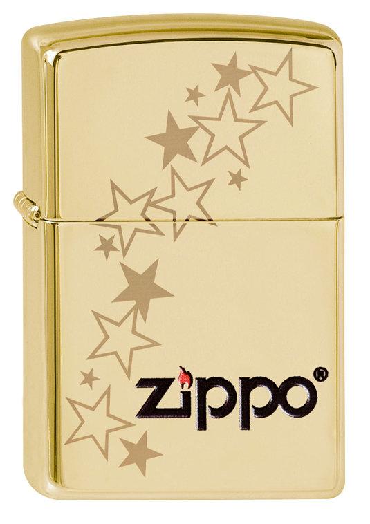 Зажигалка Zippo Classic 254B Zippo Stars High Polish Brass фото
