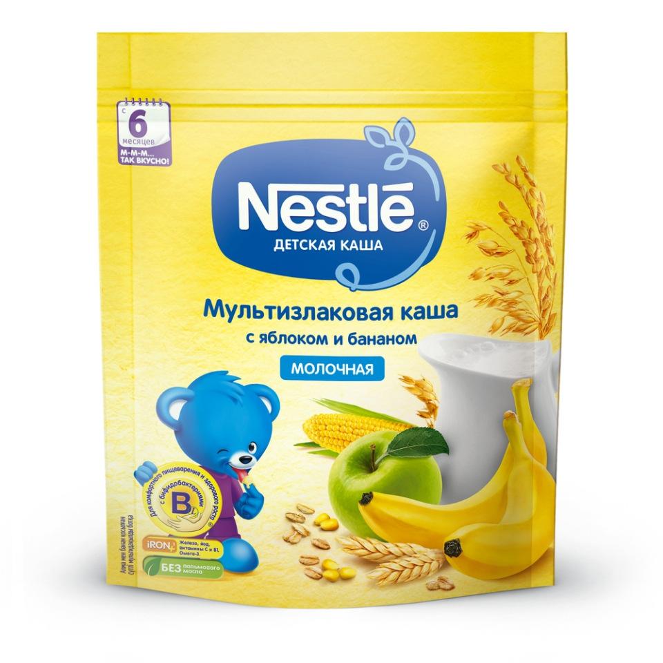 Каша молочная Nestle Мультизлаковая с яблоком и бананом с 6 мес. 220 г фото