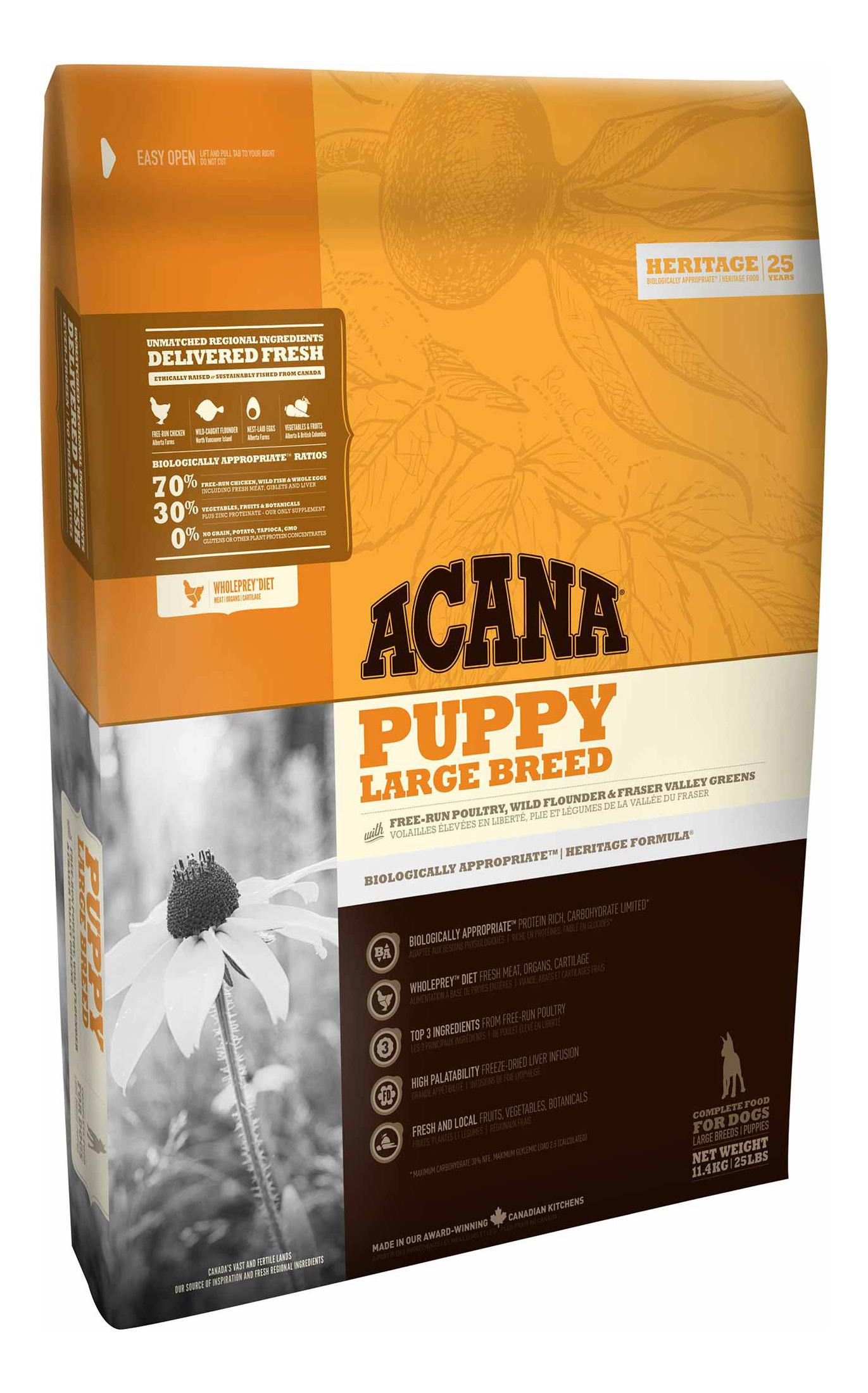 Сухой корм для щенков ACANA Heritage Puppy Large Breed, для крупных пород, цыпленок 11,4кг фото