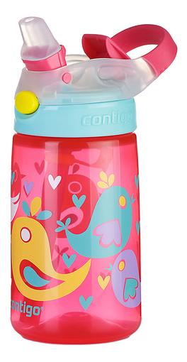 Купить 1000-0468, Детская бутылка для воды CONTIGO Gizmo Flip розовая с птицами 420 мл,