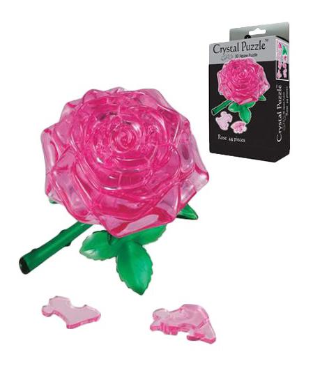 Купить Роза розовая, 3D-пазл Crystal Puzzle 44 детали,