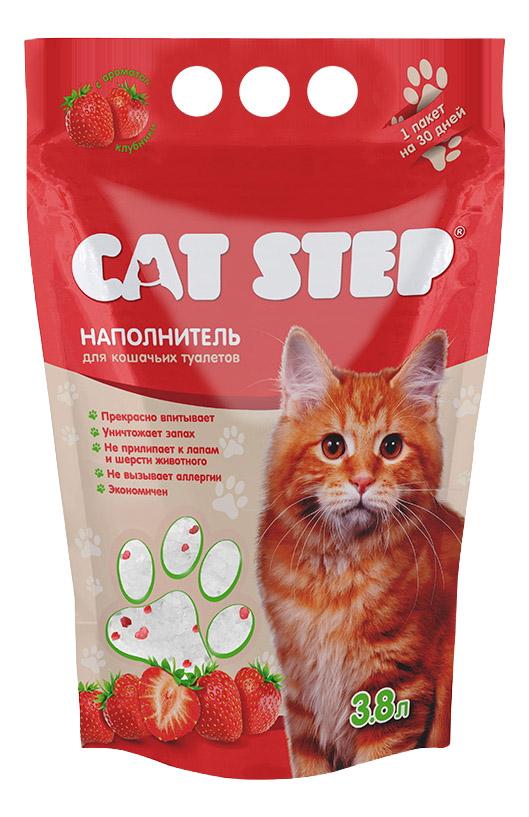 Впитывающий наполнитель для кошек Cat Step силикагелевый, клубника, 1.67 кг, 3.8 л фото