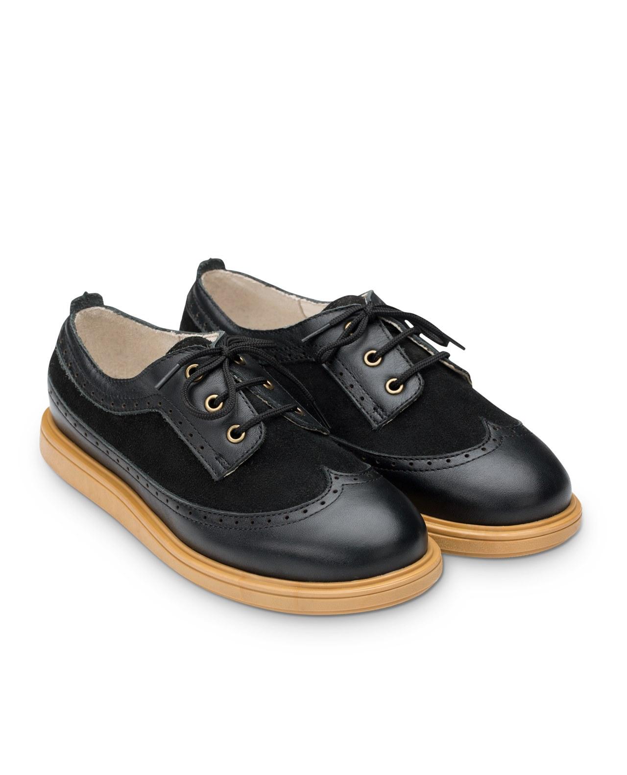 Купить Полуботинки детские 24008 р.32 кожа, степ черный, Tapiboo, Детские ботинки