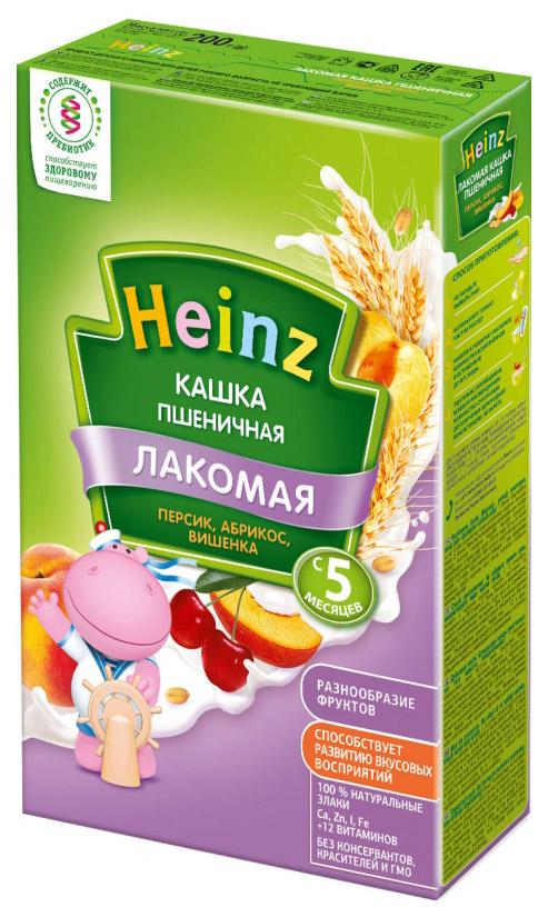 Молочная каша Heinz Лакомая Пшеничная персик, абрикос, вишенка с 5 мес 200 г