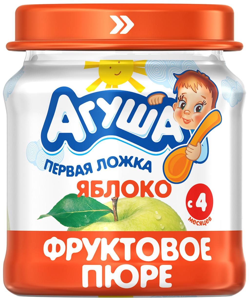 Купить Яблоко 115 г, Пюре фруктовое Агуша Яблоко с 4 мес 115 г, Детское пюре