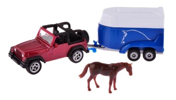 Купить Коллекционная модель Siku Jeep Wrangle с прицепом для перевозки лошадей, Коллекционные модели