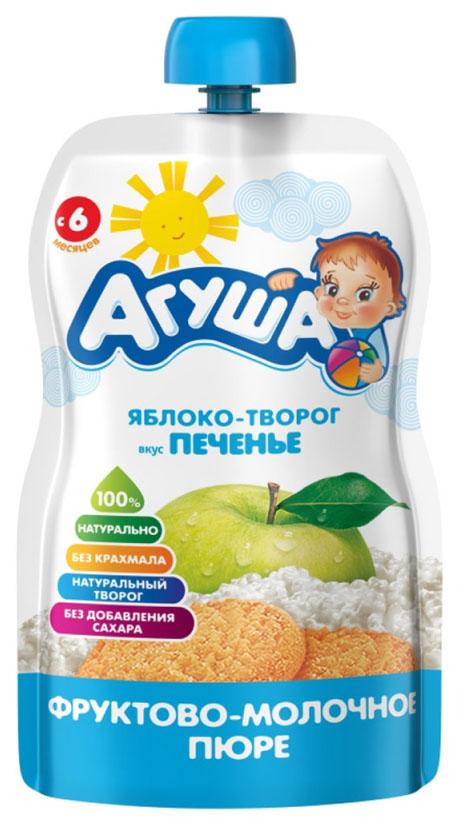 Купить Яблоко, творог, печенье, Пюре фруктовое Агуша Яблоко-творог вкус печенье с 6 мес 90 г, Детское пюре