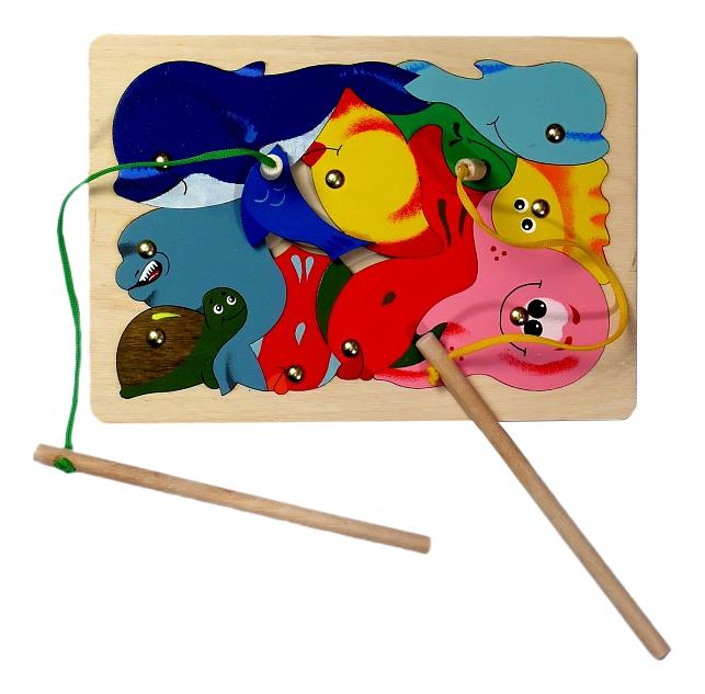 Купить Развивающая игрушка Крона Игра-пазл магнитная Рыбалка, 11 деталей Крона 143-008,