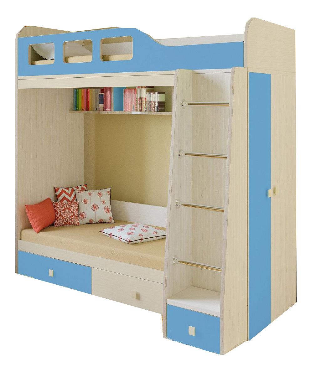 Двухярусная кровать РВ мебель Астра 3 дуб молочный/голубой фото