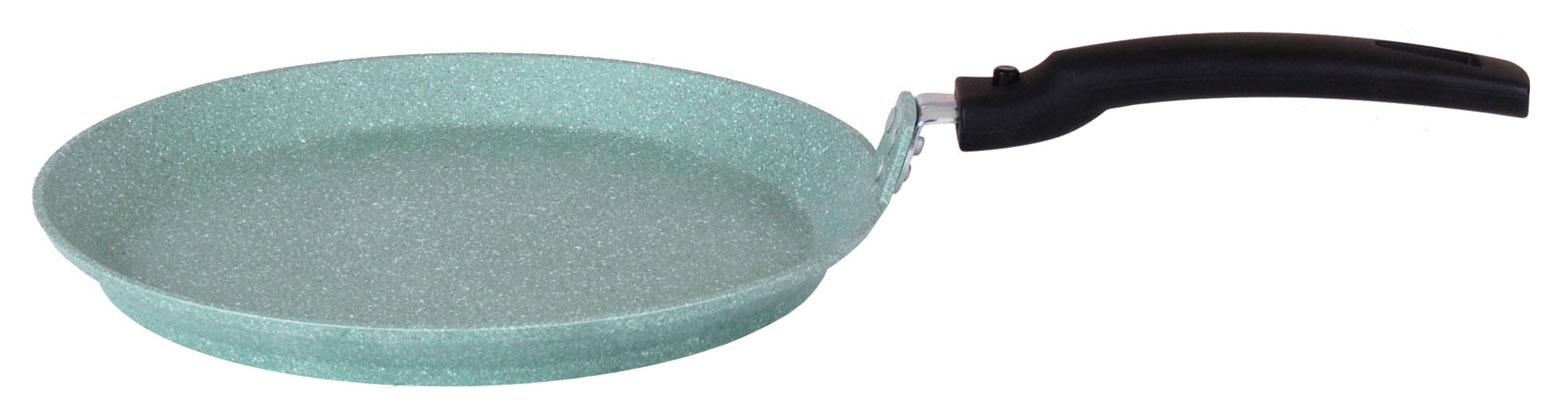 Сковорода литая блинная 24см съемная ручка Фисташковый мрамор ТМ KUKMARA