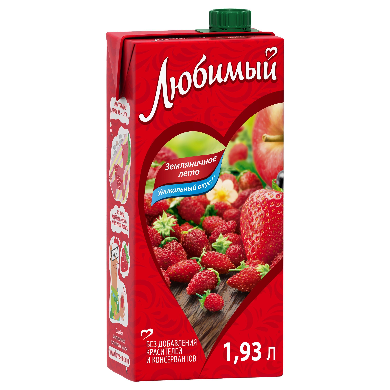 Напиток сокосодержащий Любимый земляничное лето 1.93 л фото