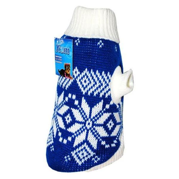 Свитер для собак Уют, синий со снежинками,