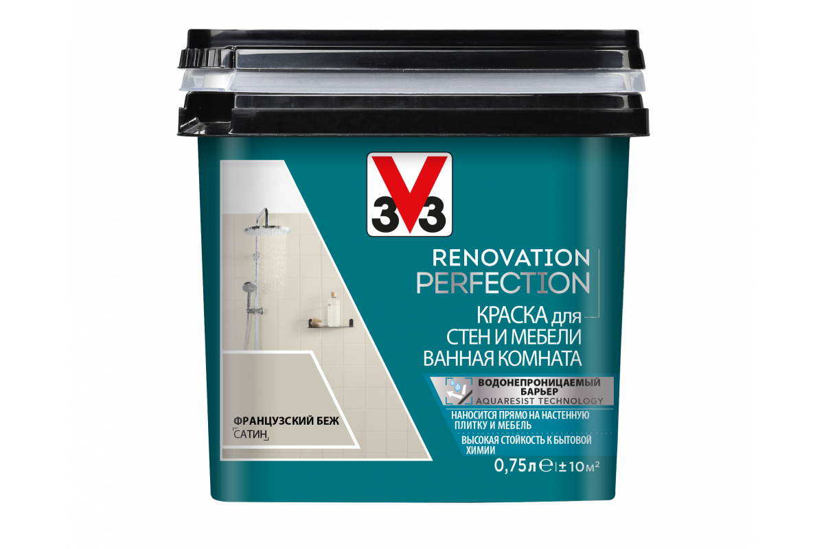 Краска V33 для стен и мебели в ванной комнате Renovation Perfection Цвет французский беж