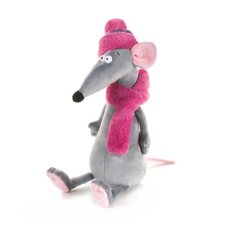 Купить Мягкая игрушка Крыска Лариска в шарфе и шапке , 23 см, Maxitoys, Мягкие игрушки животные