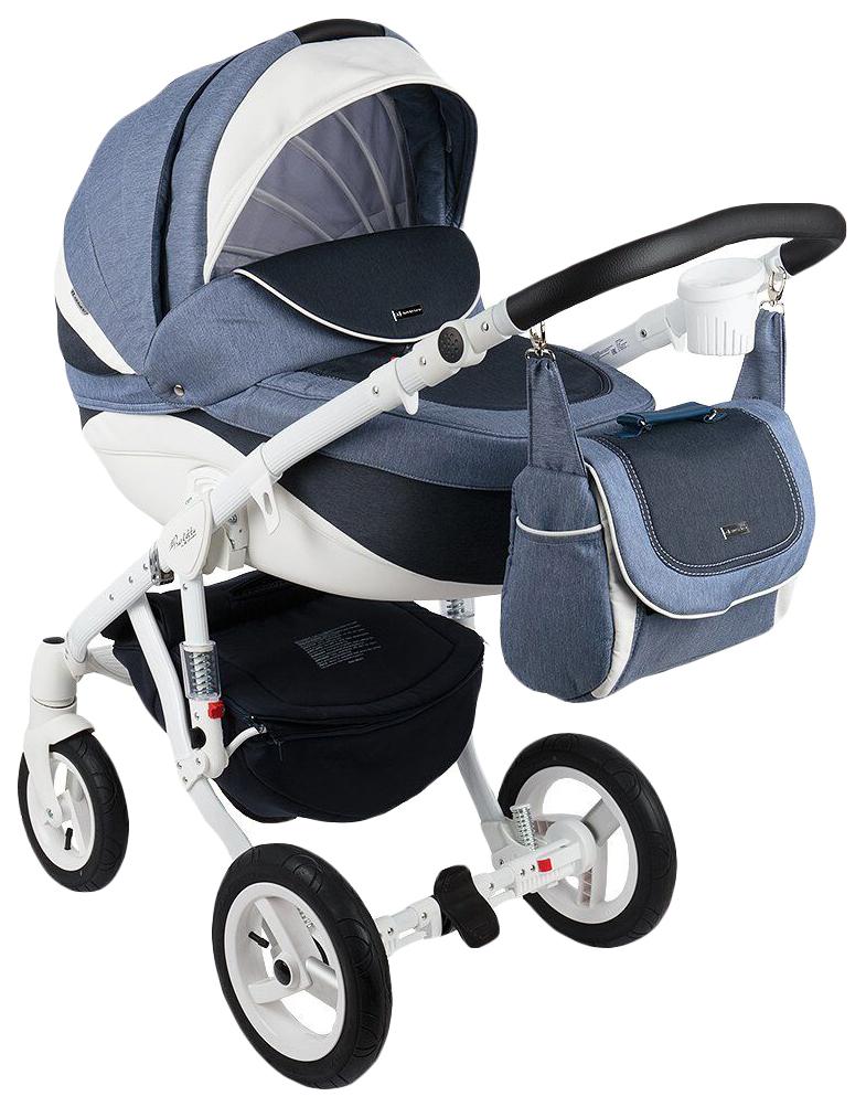 Купить Коляска 2 в 1 Adamex Barletta New B-8 цвет бело-синий, Детские коляски 2 в 1