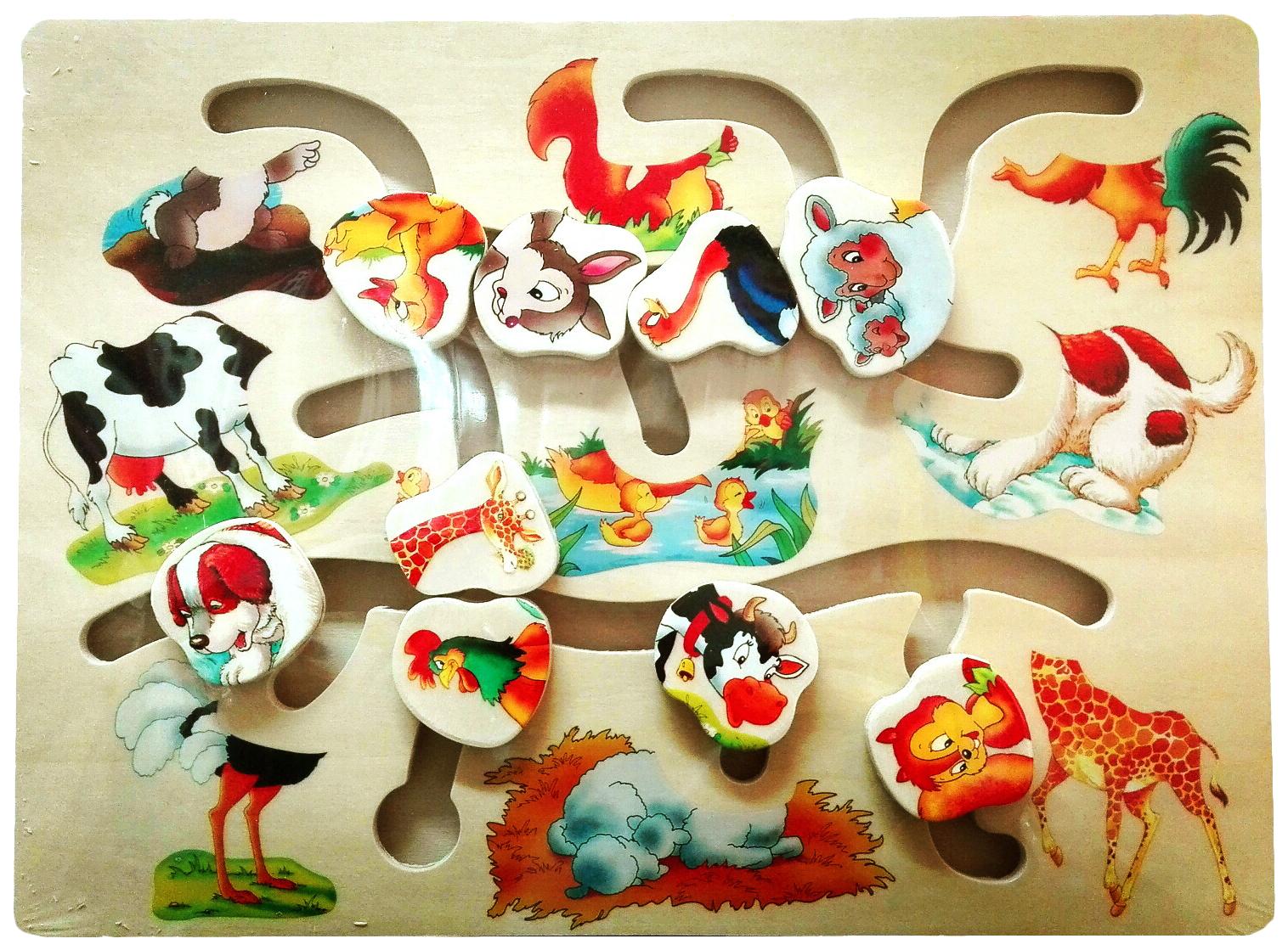 Купить Пазл Животные HJ98254Ak 10 деталей, Shantou Gepai, Пазлы для малышей