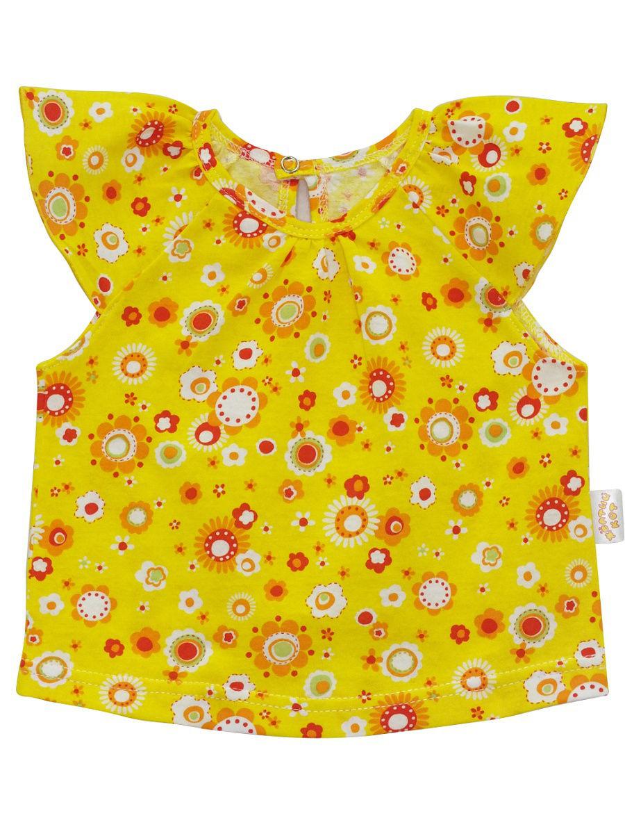 Топ для девочек Желтый кот желтый, размер 68 фото