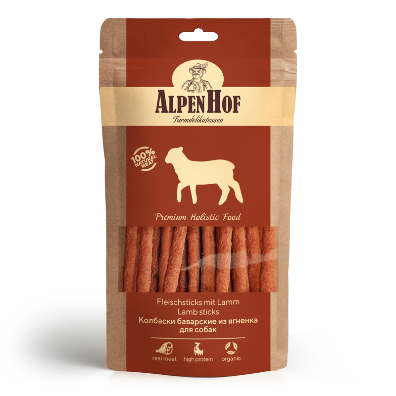 Лакомство для собак AlpenHof Колбаски баварские из ягненка, 50г фото