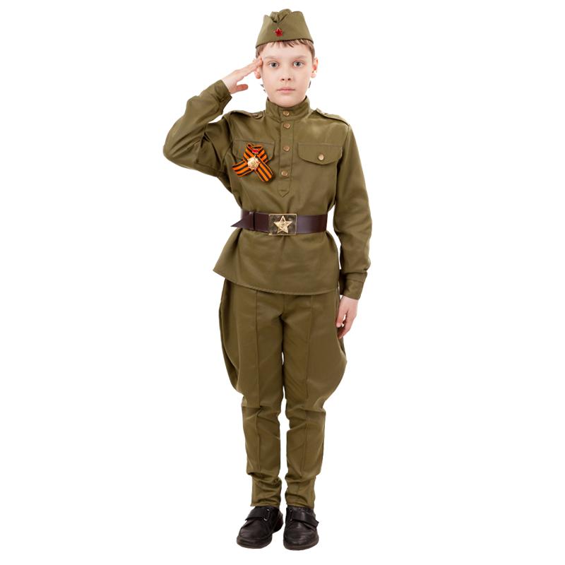 Карнавальный костюм Батик Военный, цв. зеленый р.146